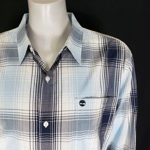 Timberland Men's Plaid Blue Button Shirt 2XL